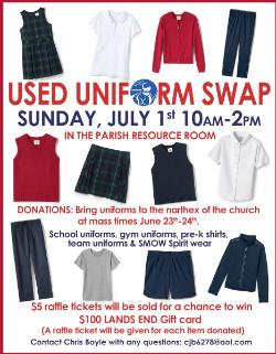 Used Uniform and Spirit wear Drop off - Narthex - St  Mary of the